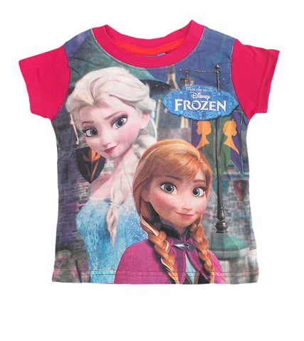 Disney Frozen Princess Girls Pink Top Tshirt Age 2-8 Years - Character Direct