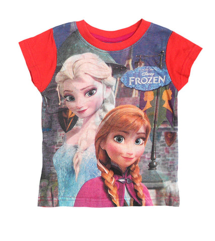 Disney Frozen Princess Girls Orange Top Tshirt Age 2-8 Years - Character Direct