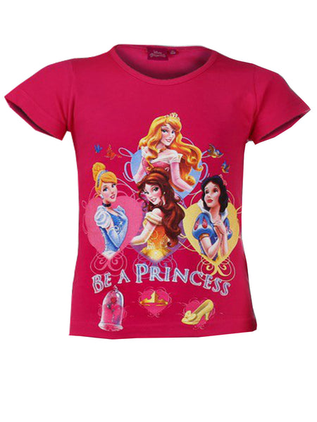 Disney Girls Princess Print T-Shirt Top Age 3 to 8 Years - Character Direct