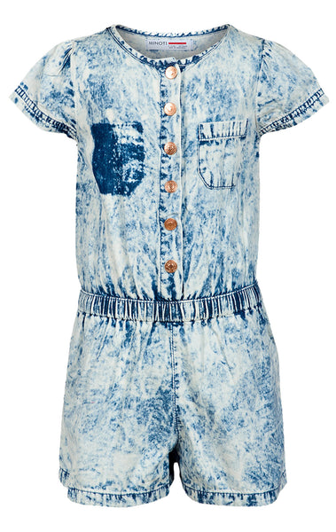 Minoti Girls Acid Wash Elasticated Waist Chambray Playsuit Age 3 to 8 Years - Character Direct