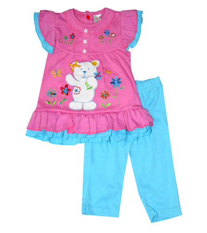 Cutey Couture Kids Girls Applique Embroidery Detail Dress Legging Set Age 6-24 Months - Character Direct