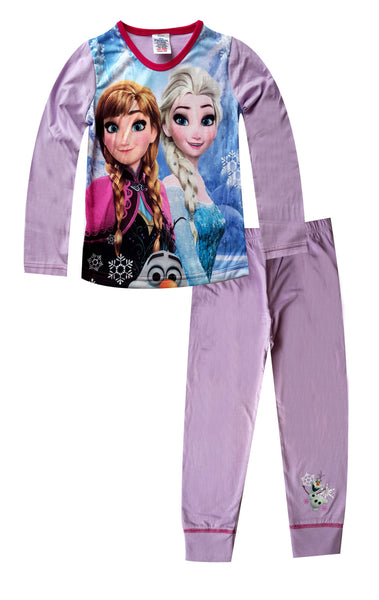 Disney Frozen Elsa Anna Girls Long Pyjamas Age 4 to 10 Years - Character Direct