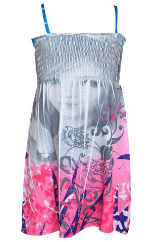 Girls Strappy Summer Face Print Dress Age 2 to 10 Years - CharacterDirect