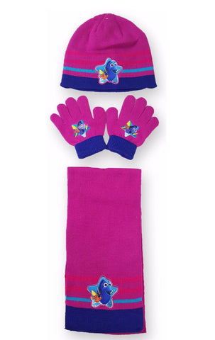 Girls Official Licensed Finding Dory Gloves , Beanie Hat & Scarf Set One size 4-10 Years - CharacterDirect