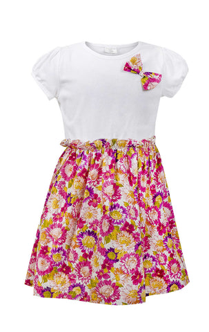 Ex Chain Store Girls Floral Bow Detail Elasticated Waist Dress Age 1 to 8 Years - CharacterDirect