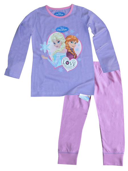 Disney Frozen Princess Elsa Anna Girls Long Length Pyjama 3-10 Years - Character Direct