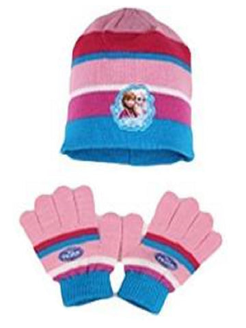 Official Girls Frozen Gloves & Beanie Hat Set Age 4-10 Years - Character Direct