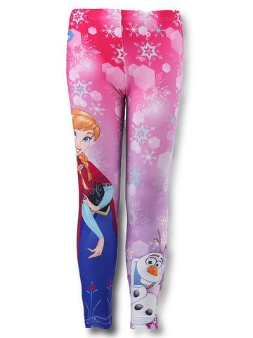 Disney Frozen Girls Legging Fleece Lined Tights Age 3,4,5,6,7,8 Years - Character Direct