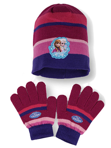 Official Girls Frozen Gloves & Beanie Hat Set Age 4-10 Years - CharacterDirect