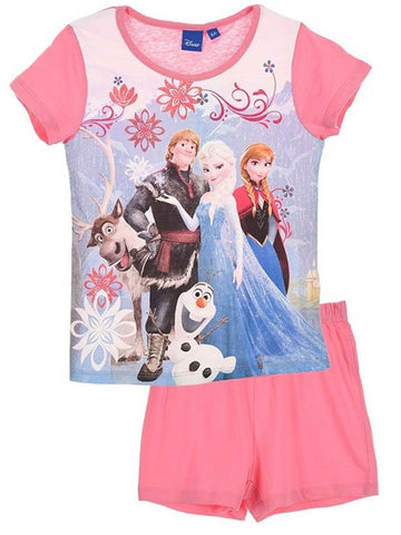 Disney Frozen Princess Elsa Anna Girls Shortie Short Pyjama Age 4 to 8 Years - Character Direct