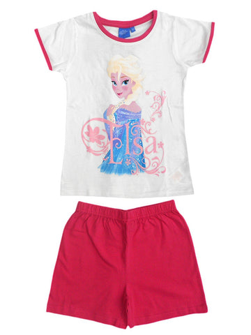Disney Frozen Princess Elsa Anna Girls Shortie Short Pyjama Age 4 to 8 Years in White - Character Direct