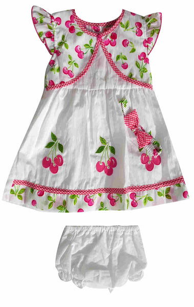 Baby Girls 3 Piece Floral Bow Dress Set Knickers & Bow Headband Age 6-24 M - Character Direct