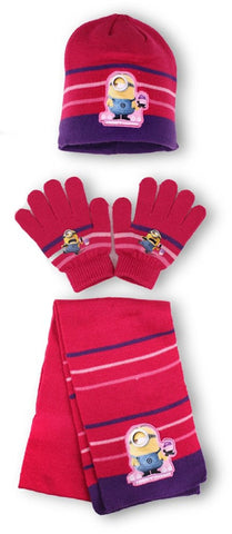 Official Girls Despicable Me Minions Gloves & Beanie Hat Set One size 4-10 Years - Character Direct