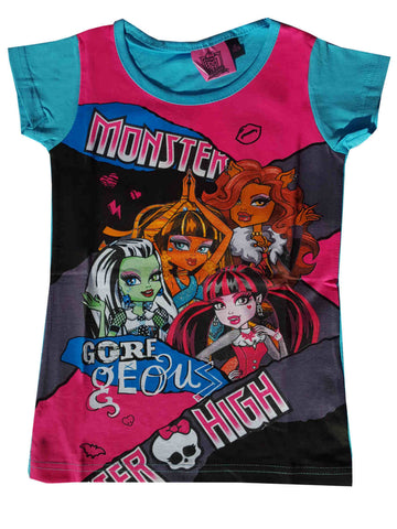Official Monster High Girls Printed Short Sleeve Top Age 6 to 12 Years - CharacterDirect