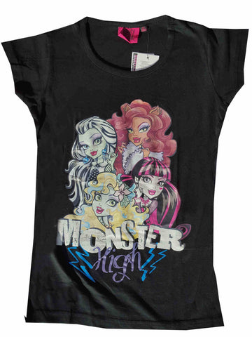 Official Monster High Girls Printed Short Sleeve Top Age 6 to 12 Years - Character Direct
