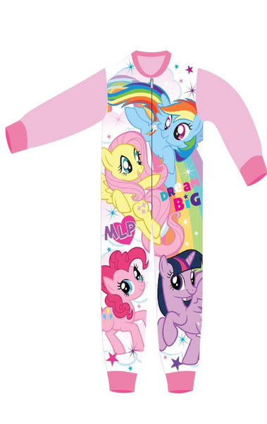 Girls Licensed My Little Pony Rainbow Dash Fluttershy Print Micro Fleece Onesies Age 3 to 8 Years - Character Direct