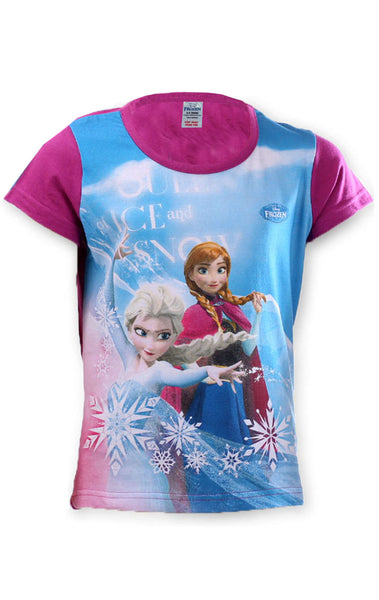 Disney Frozen Elsa Anna Girls Top Tshirt Age 4 to 8  Years - Character Direct