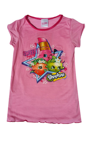 Shopkins Girls Polly Popcorn Apple Blossom Nightwear Sleepwear Sizes 2 to 8 Years - CharacterDirect - 1