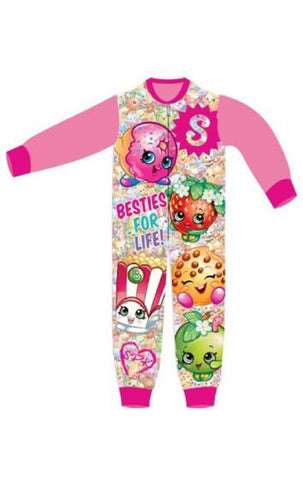 Girls Licensed Shopkins Apple Blossom Poppy Corn Micro Fleece Onesies Age 3 to 8 Years - CharacterDirect