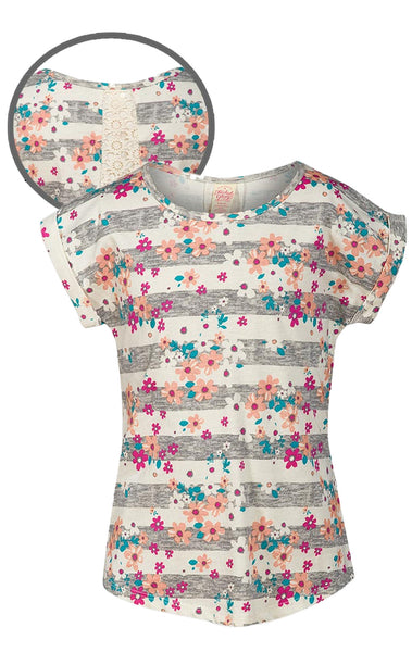 Girls Lace Back Panel Floral Striped Top Age 4 to 16 Years