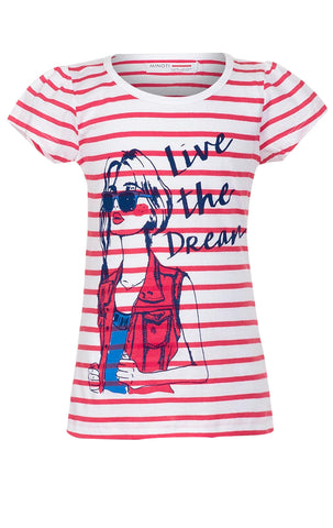 Girls Striped Cap Sleeve  Live the Dream Print Cotton Top Age 3 to 8 Years - Character Direct