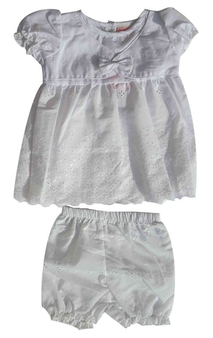 Baby Girls 2 Piece Broderie anglaise Embroidery Dress with Knickers Age 6-24 M - Character Direct
