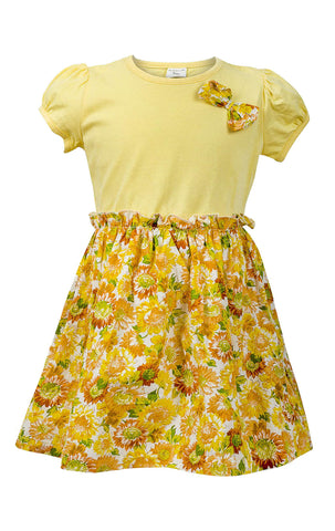 Ex Chain Store Girls Floral Bow Detail Elasticated Waist Dress Age 1 to 8 Years - Character Direct