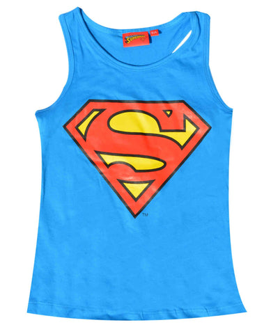 Official Licensed Girls Superman Print Short Sleeve Cotton Tshirt  Vest Top Age 8 to 12 Years