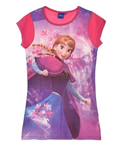 Disney Frozen Princess Elsa Anna Girls Nightwear Sleepwear Large Tshirt 4 to 8 Years - Character Direct