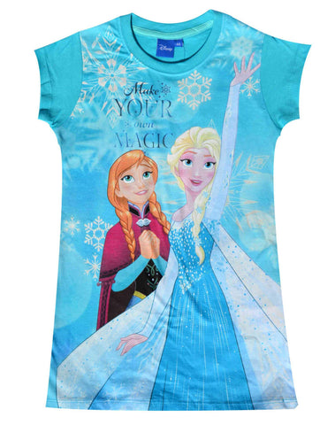 Disney Frozen Princess Elsa Anna Girls Nightwear Sleepwear Large Tshirt 4 to 8 Years in Turquoise - Character Direct