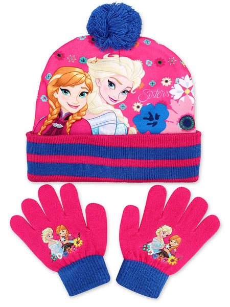 Girls Disney Frozen Pom Pom Hat & Glove Set - Character Direct