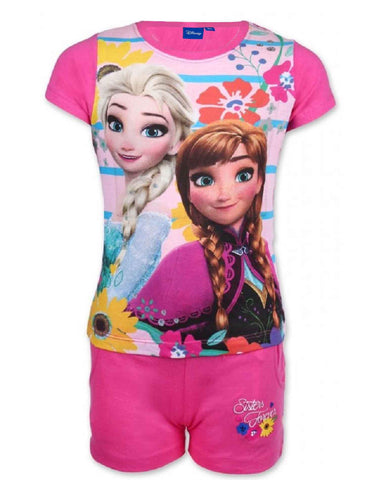 Disney Frozen Princess Elsa Anna Girls Short Pyjama in Pink 3 to 10 Years - Character Direct