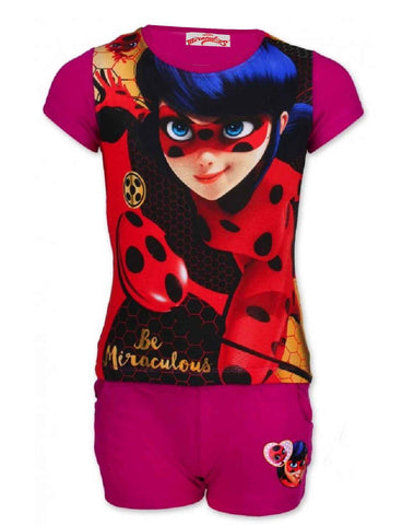 Girls Offical Licensed Miraculous LadyBug Short Pyjamas Beach Set in Purple Age 4 to 10 Years - Character Direct