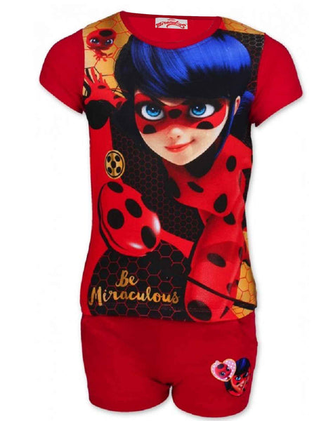 Girls Offical Licensed Miraculous LadyBug Short Pyjamas Beach Set in Red Age 4 to 10 Years