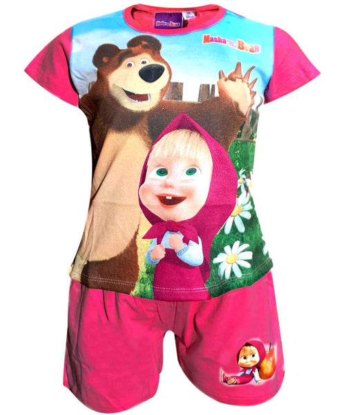 Official Girls Masha and the Bear Short Pyjamas - Character Direct