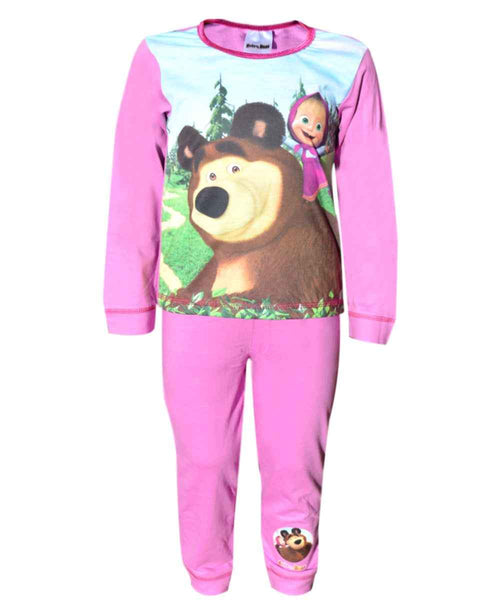 Girls Official Licensed Masha and Bear Long Length Pyjamas - Character Direct