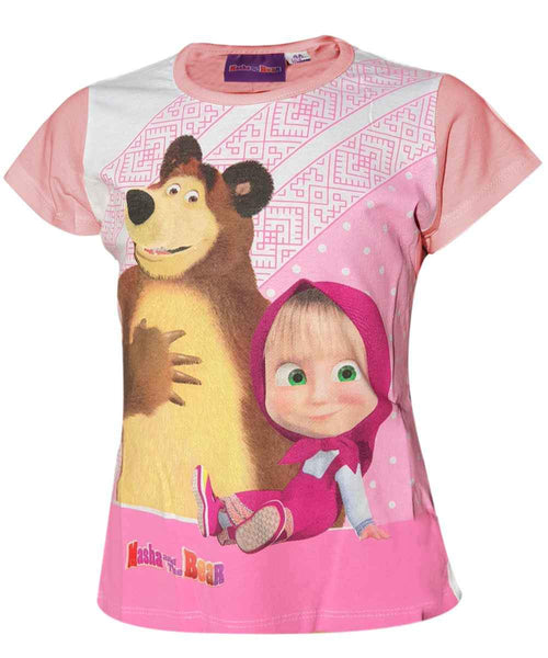 Girls Masha and the Bear Tshirt Age 3 to 8 Years - Character Direct