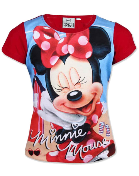 Girls Official Licensed Minnie Mouse Tshirt  in Red Age 3 to 8 Years