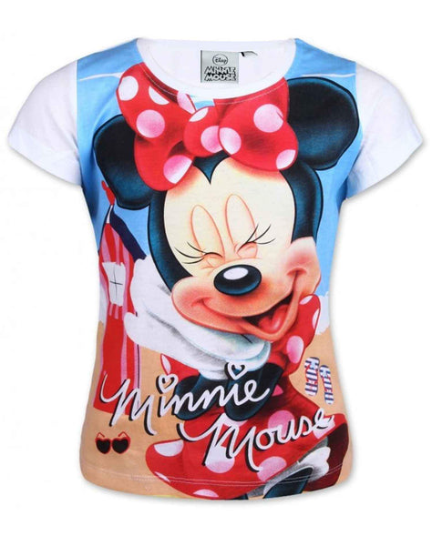 Girls Official Licensed Minnie Mouse Tshirt  in White Age 3 to 8 Years
