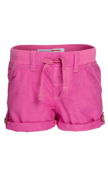 Girls Minoti Ribbed Waistband Turnup Cotton Shorts Age 3 to 8 Years - Character Direct
