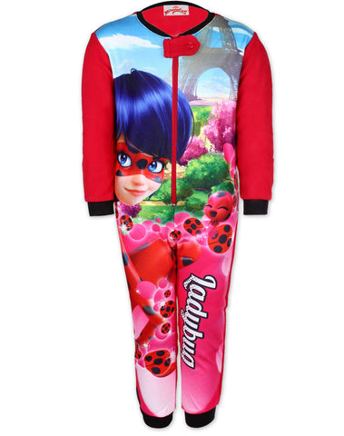 Girls Licensed Miraculous Ladybug Marinette Print Micro Fleece Onesies Age 4 to 10 Years - Character Direct