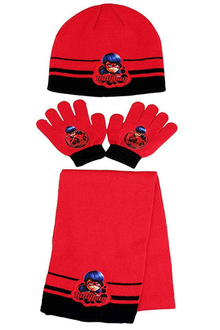 Official Girls Miraculous Ladybug Beanie Hat, Glove and Scarf Set One size 3-7 Years - Character Direct