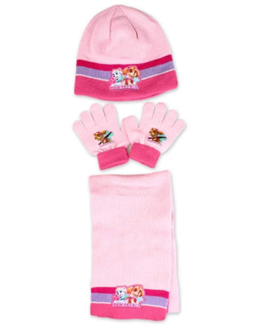 Girls Skye Official Licensed Paw Patrol Gloves , Beanie Hat & Scarf Set One size 3 to 7 Years