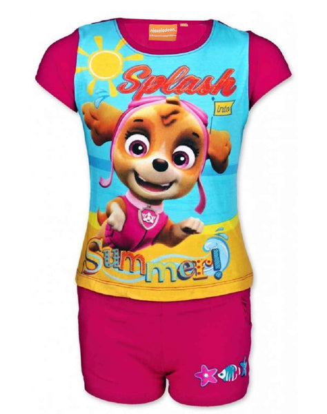 Girls Offical Licensed Paw Patrol Short Pyjamas Beach Set in Purple Age 2 to 8 Years