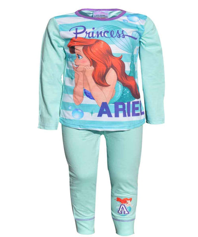 Girls Little Mermaid Ariel Long Length Pyjamas 4-10 Years