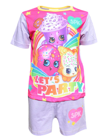 Official Girls Shopkins Sublimation Print Short Pyjamas Age 3 to 10 Years - Character Direct