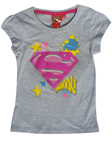 Official Licensed Girls Superman Print Short Sleeve Cotton Tshirt Age 8 to 12 Years - Character Direct