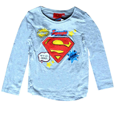 Girls Superman Print Cotton Tshirt - Character Direct