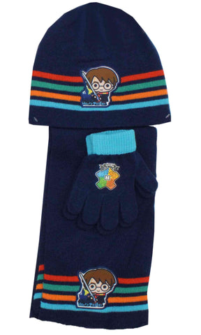 Official Boys Harry Potter Hat Gloves and Beanie Hat Set One size 4-8 Years - Character Direct