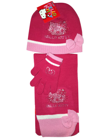 Official Girls Sanrio Hello Kitty Diamonte Detail Gloves ,Beanie Hat & Scarf Set One size 3-10 Years - Character Direct